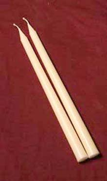 13-inch Pair of Beeswax Tapers